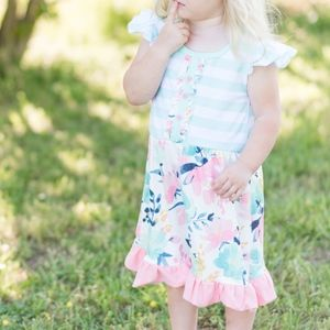Dresses - FINAL PRICE Mint Stripe Pink Floral Dress